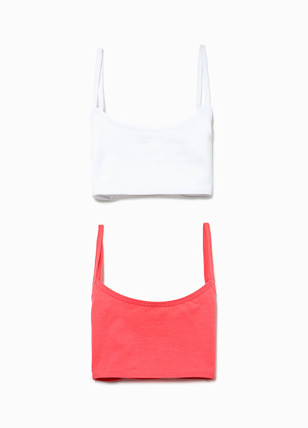 Two-pack organic cotton bandeau bras | OVS