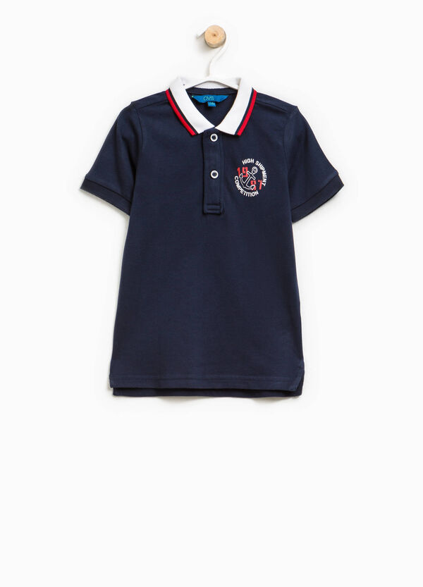 Cotton polo shirt with striped collar and print | OVS