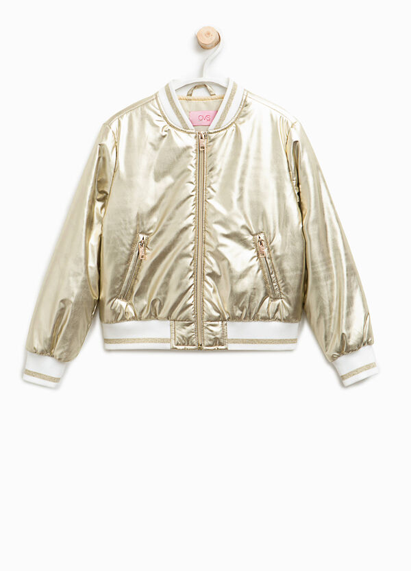 Shiny bomber jacket with striped ribbing | OVS