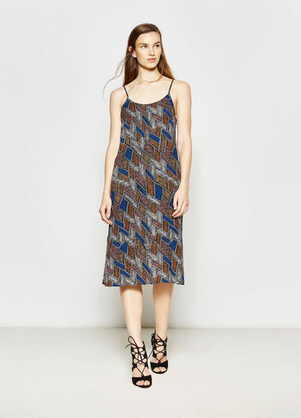 Longuette dress in patterned viscose | OVS