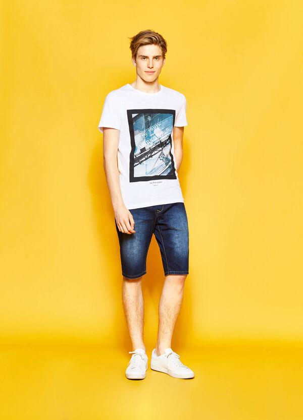 Straight-fit washed-effect denim Bermuda shorts | OVS