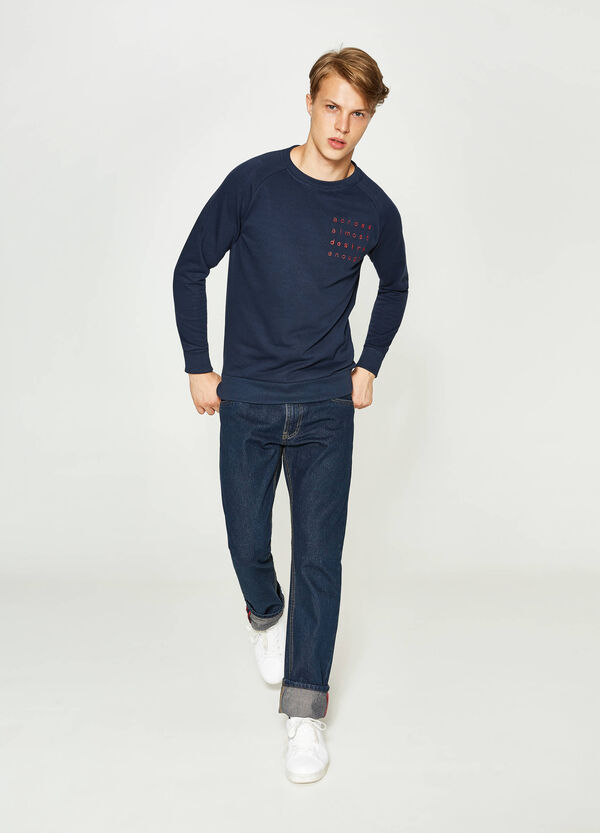 Cotton sweatshirt with print and embroidery | OVS