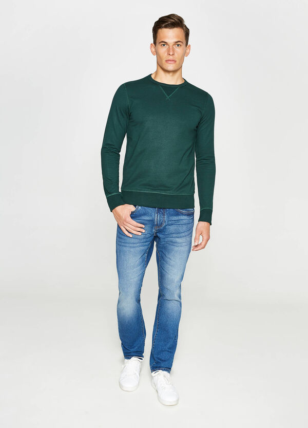 Solid colour cotton blend sweatshirt | OVS