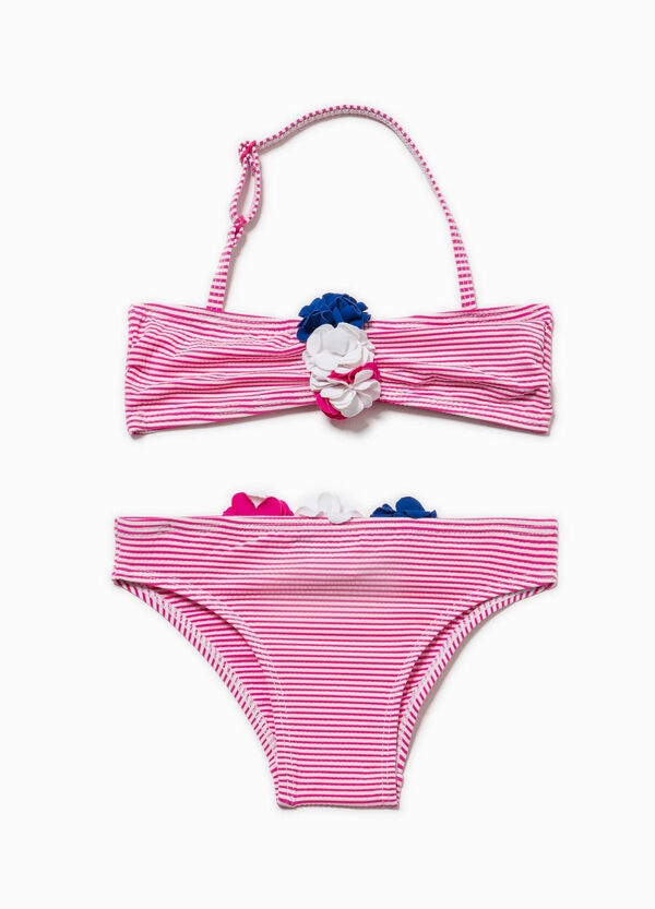 Striped bikini with flowers | OVS