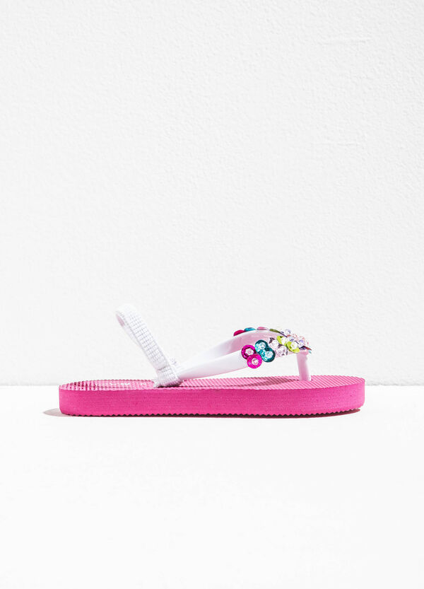 Flip flops with diamanté appliqués | OVS