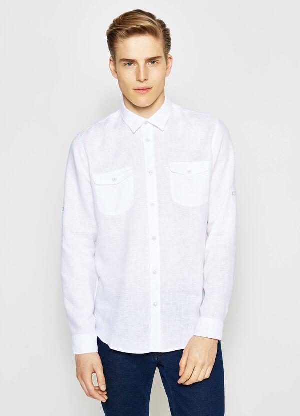 Camicia casual in lino colletto classico   OVS