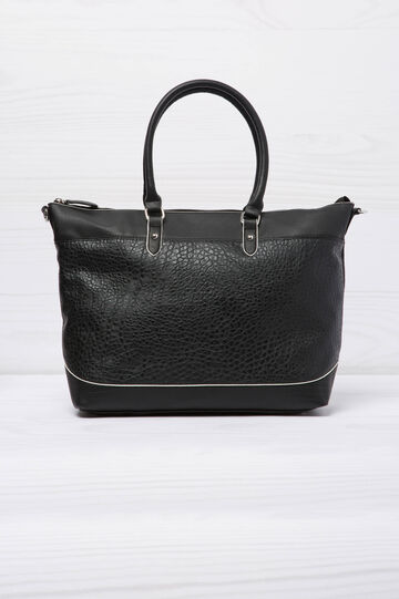 Leather look shopping bag