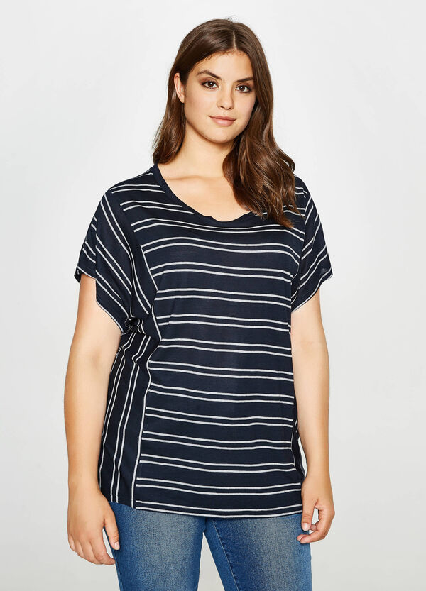 Curvy striped T-shirt in viscose | OVS