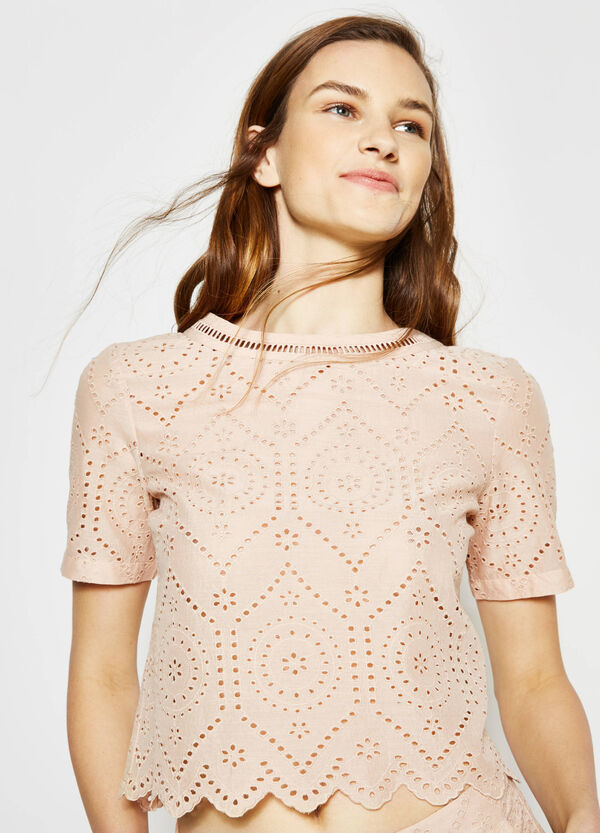 Crop blouse with openwork design | OVS