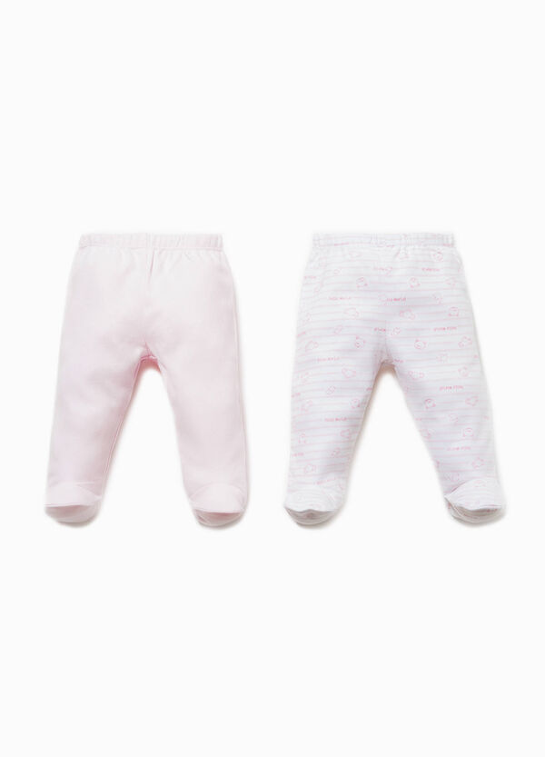 Two-pack solid colour and striped baby leggings in cotton | OVS
