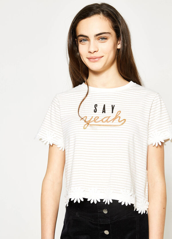 Teen striped crop top with flowers | OVS