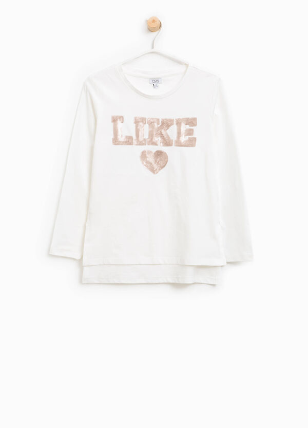 T-shirt in cotone con paillettes lettering | OVS