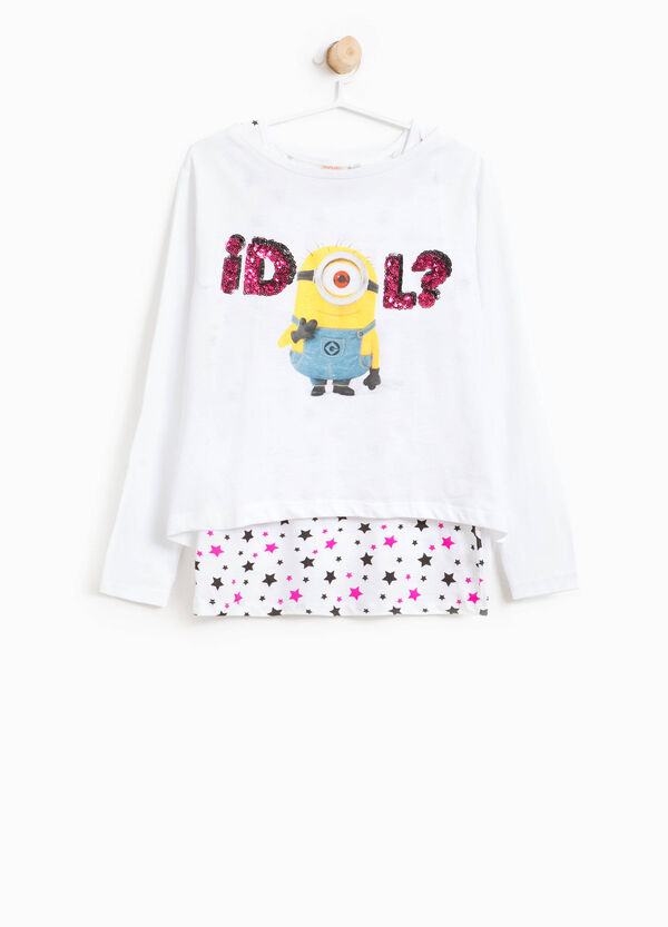T-shirt crop stampa Minions con top | OVS