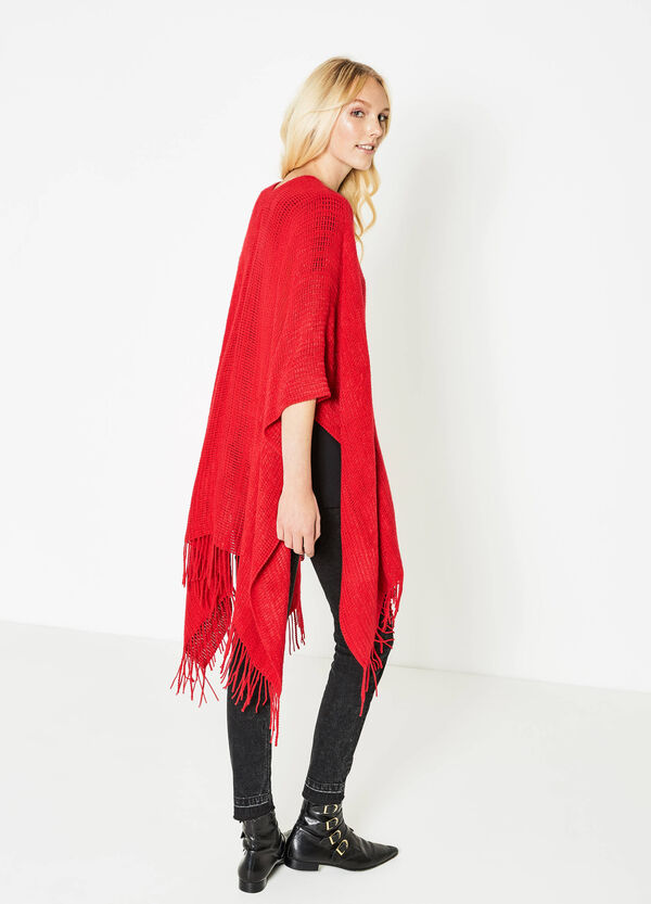 Knitted poncho with fringe | OVS