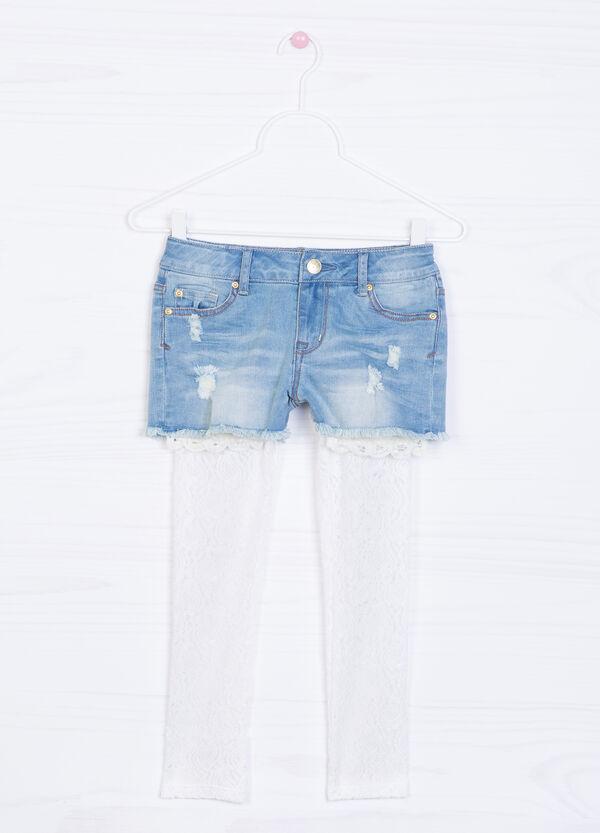 Frayed-effect stretch denim shorts.   OVS