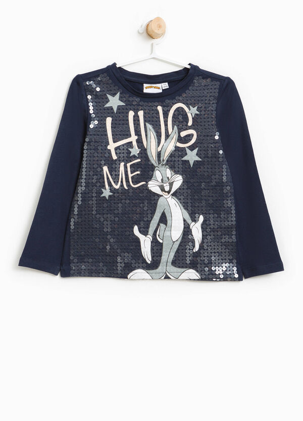 Stretch T-shirt with Bugs Bunny and sequins | OVS