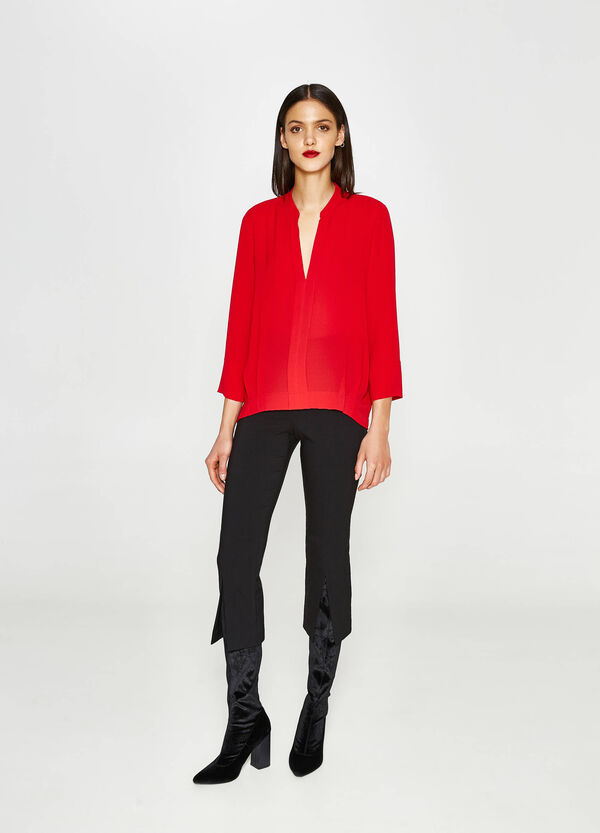 Stretch blouse with three-quarter sleeves. | OVS