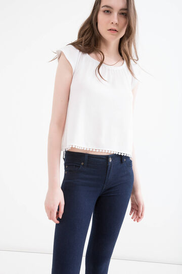 Short blouse with boat neck