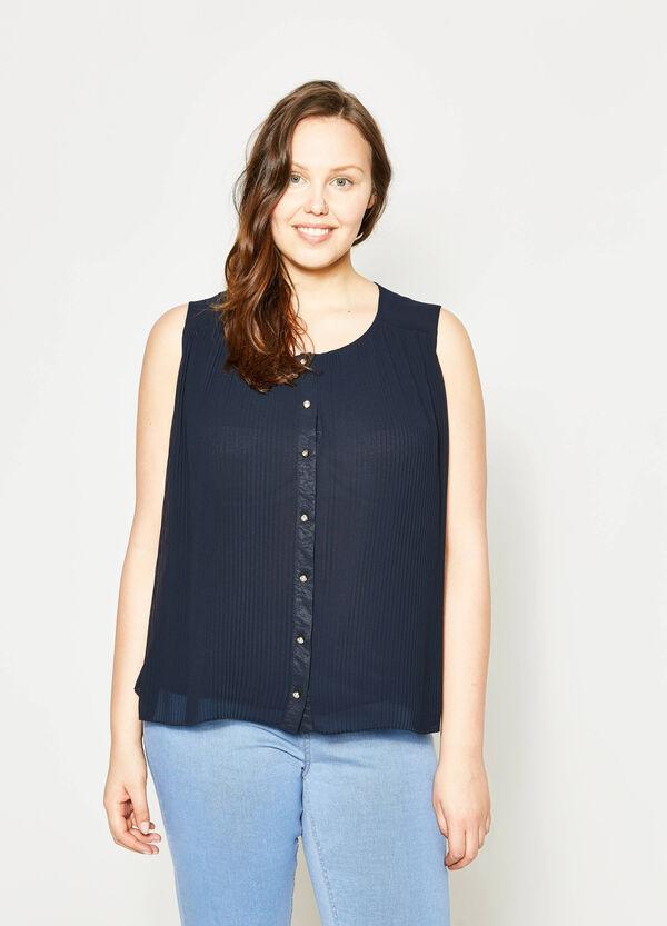 Curvy sleeveless pleated blouse | OVS