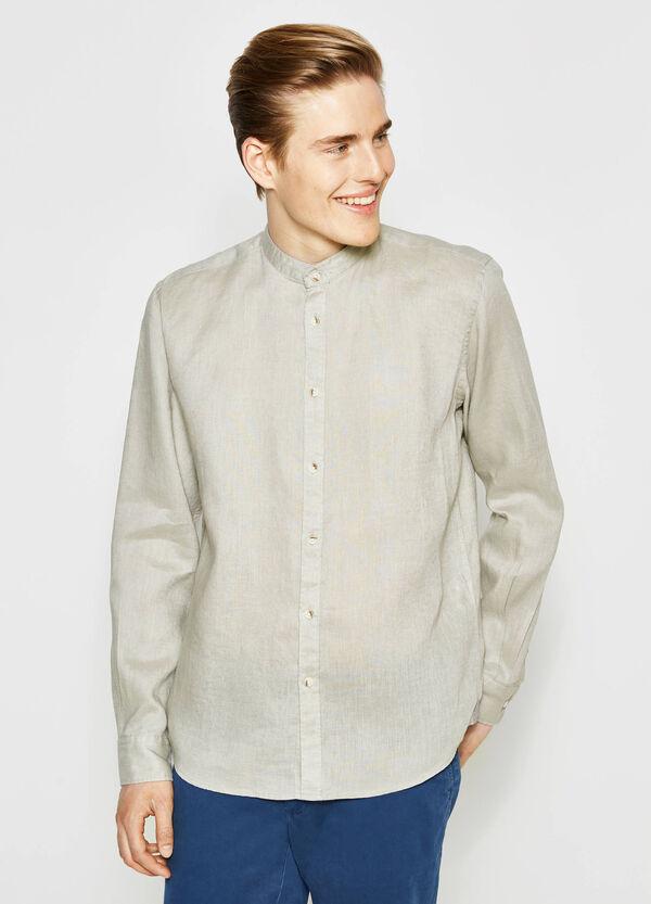 Camicia casual in lino inserti fantasia | OVS