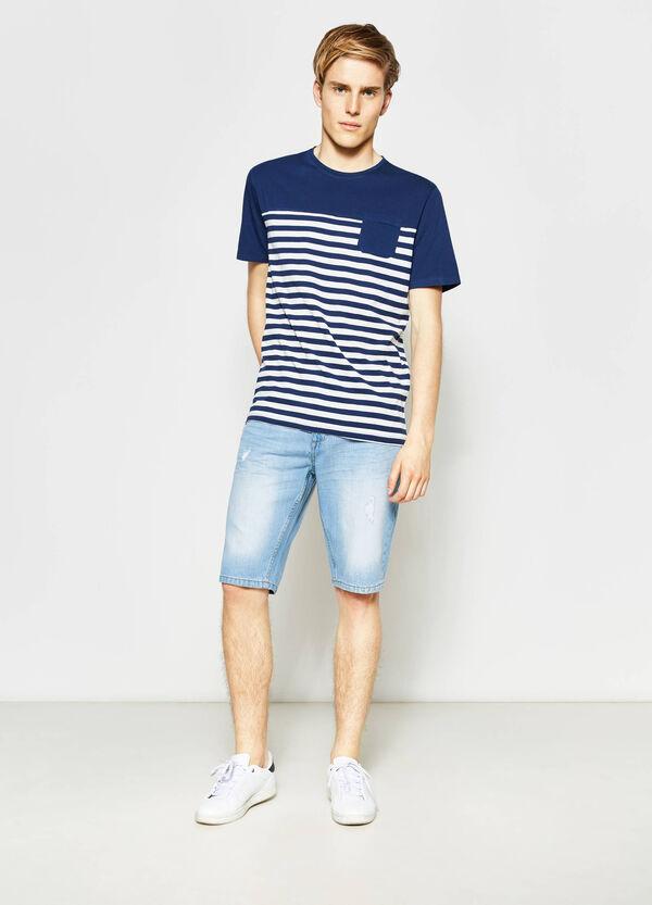 Straight-fit denim Bermuda shorts with zip | OVS