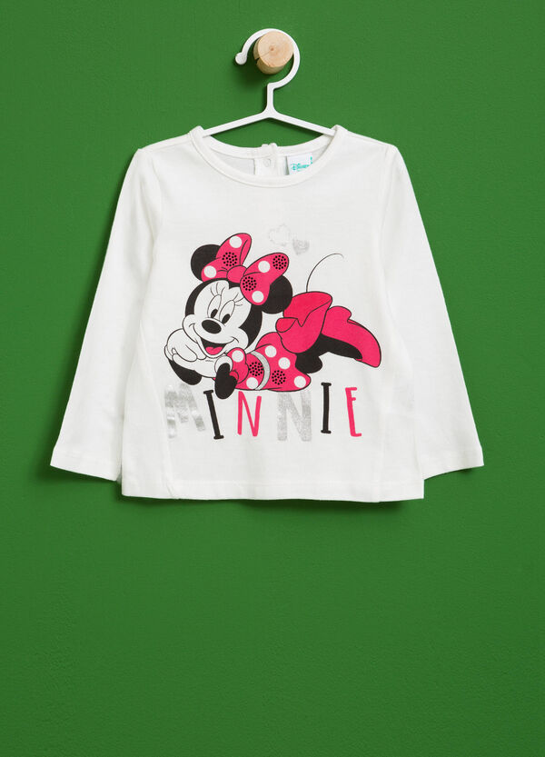 T-shirt in cotone stampa Minnie con strass | OVS