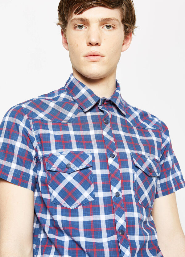 G&H casual tartan shirt in slub cotton | OVS