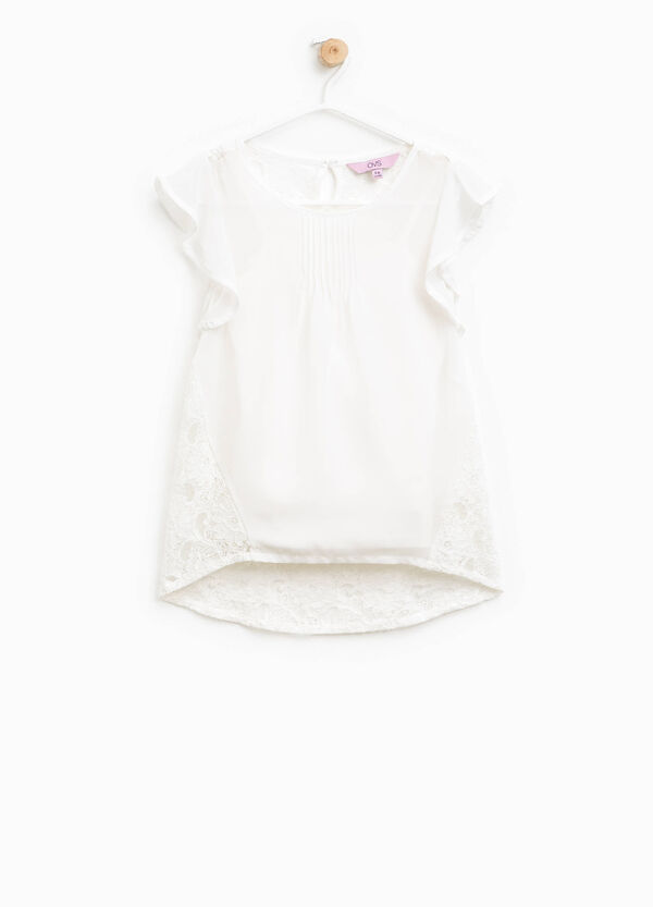 Pleated blouse with lace back | OVS