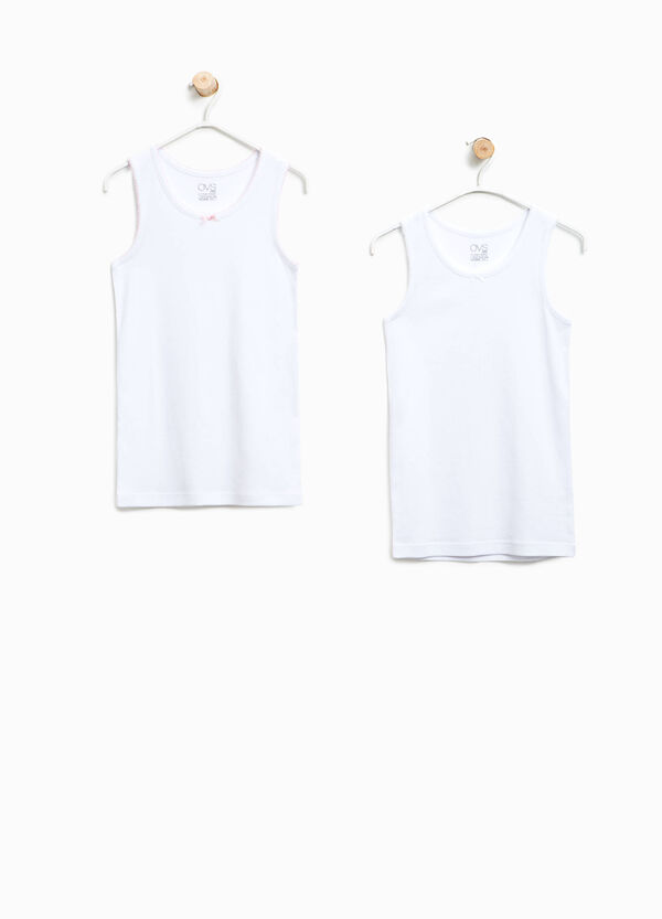 Set of two solid colour organic cotton under tops | OVS