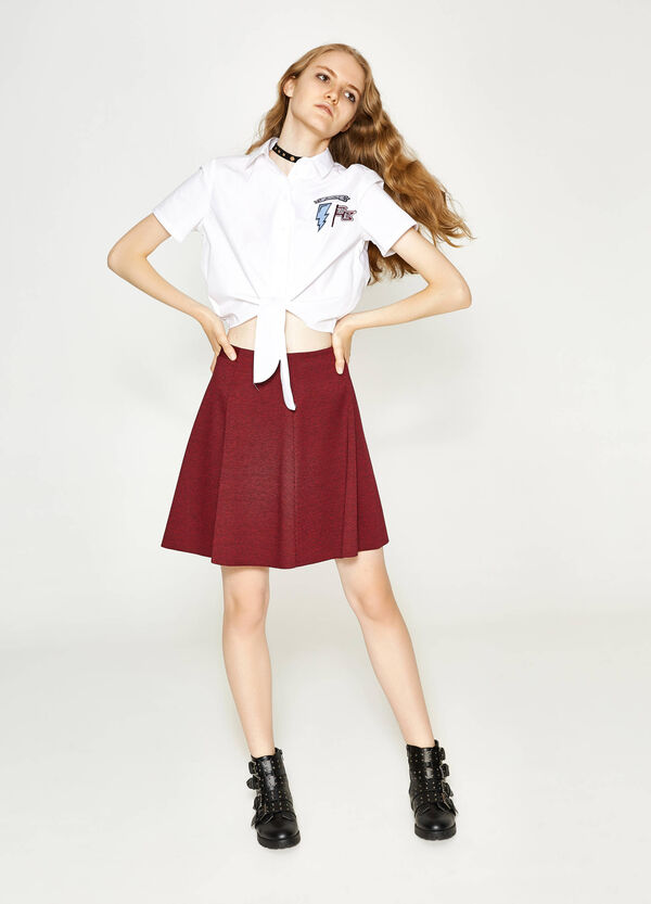 High-waisted skirt with micro-check pleats | OVS
