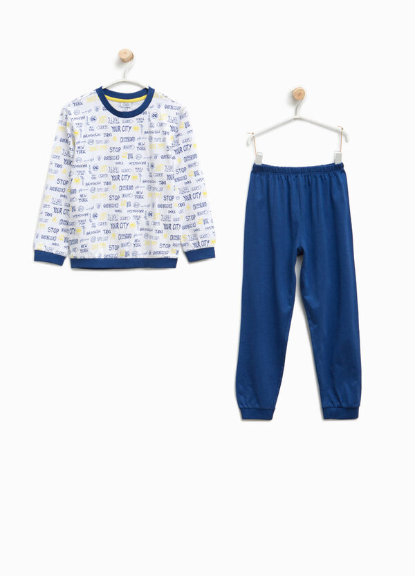 Organic cotton pyjamas with lettering pattern | OVS