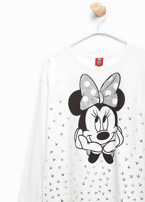 T-shirt con stampa Minnie e strass | OVS