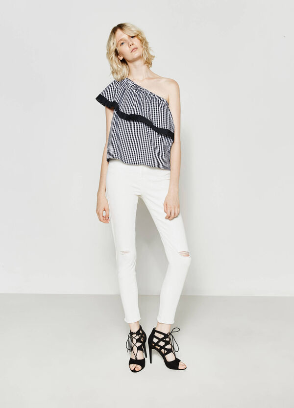 Pleated blouse with flounce and one shoulder strap | OVS