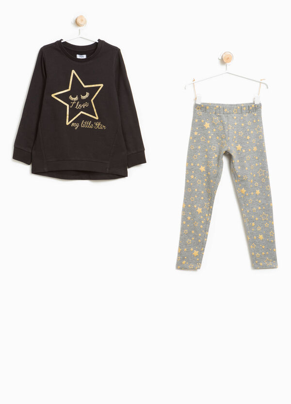 Patterned cotton tracksuit with glitter stars | OVS