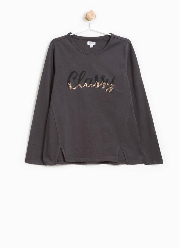 T-shirt cotone stampa lettering paillettes | OVS