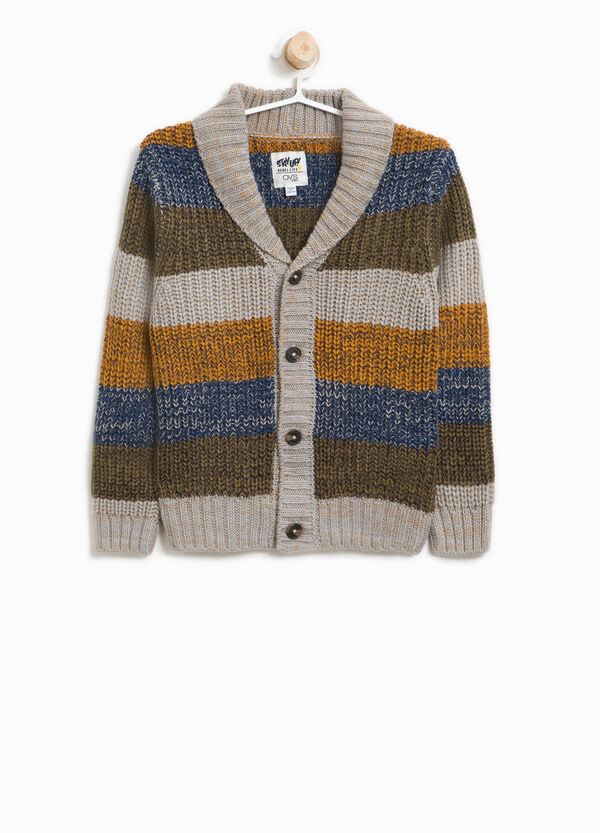 Cardigan tricot a righe con revers | OVS