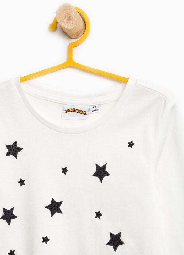 T-shirt in cotone Titti strass e glitter | OVS