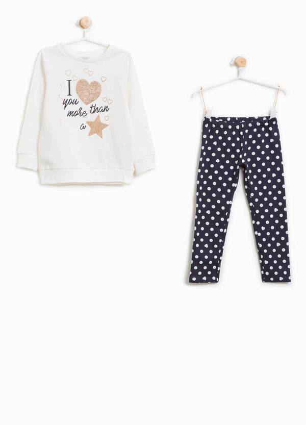 Cotton tracksuit with polka dot pattern and print | OVS