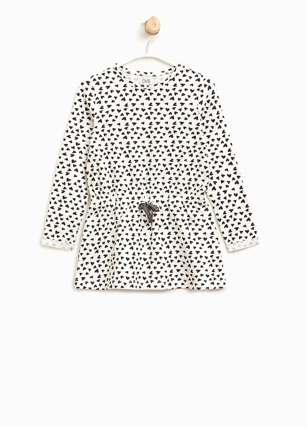 Long T-shirt in patterned cotton | OVS