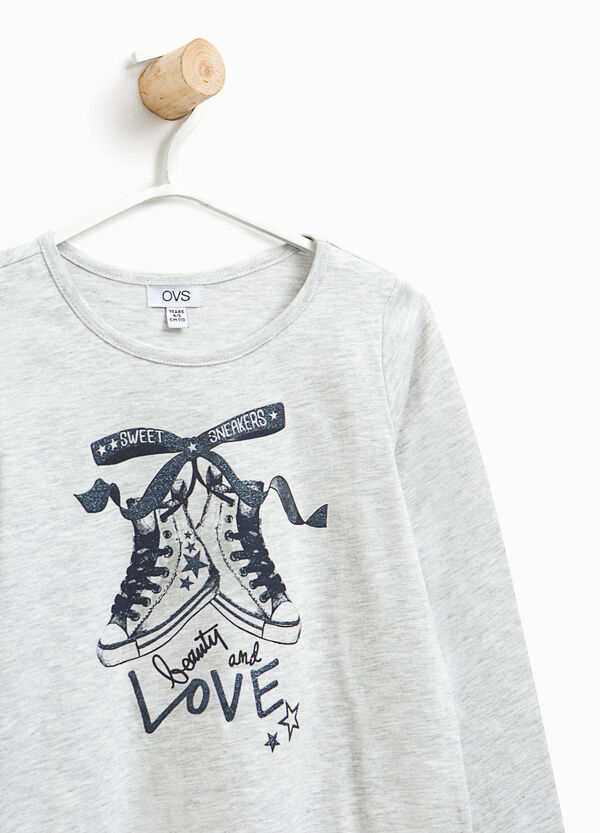 100% cotton T-shirt with glitter print | OVS