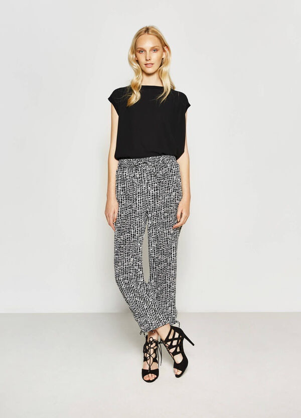 Patterned trousers with drawstring | OVS