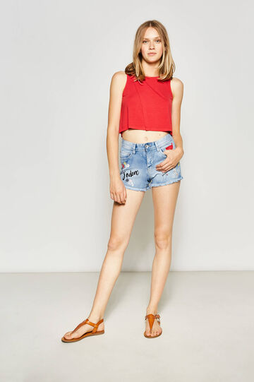 Denim shorts with print and embroidery