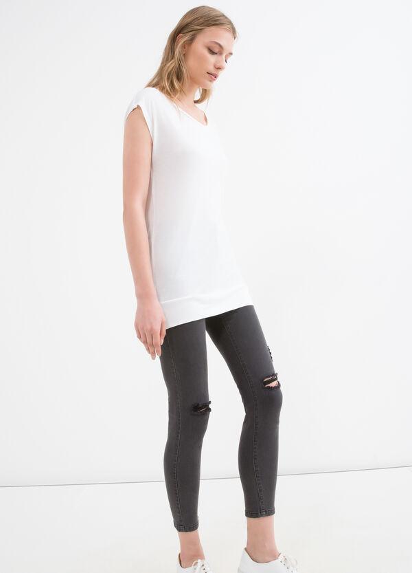 Solid colour 100% viscose T-shirt | OVS