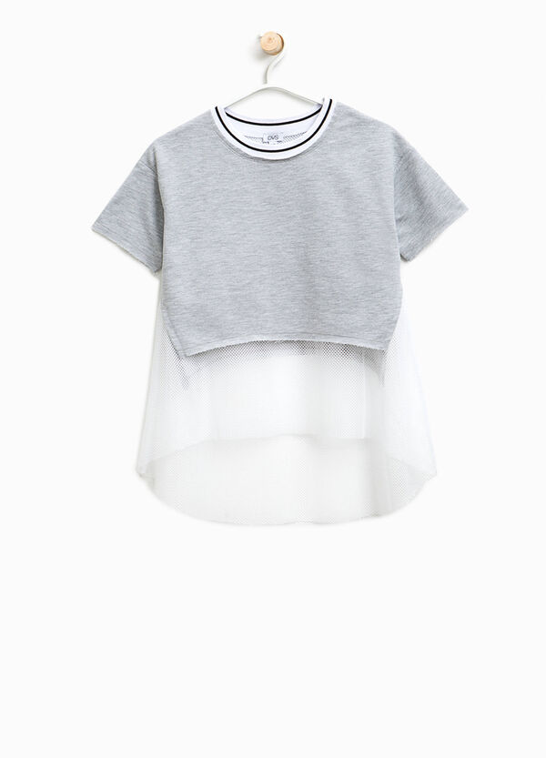 T-shirt crop finto doppio a rete | OVS