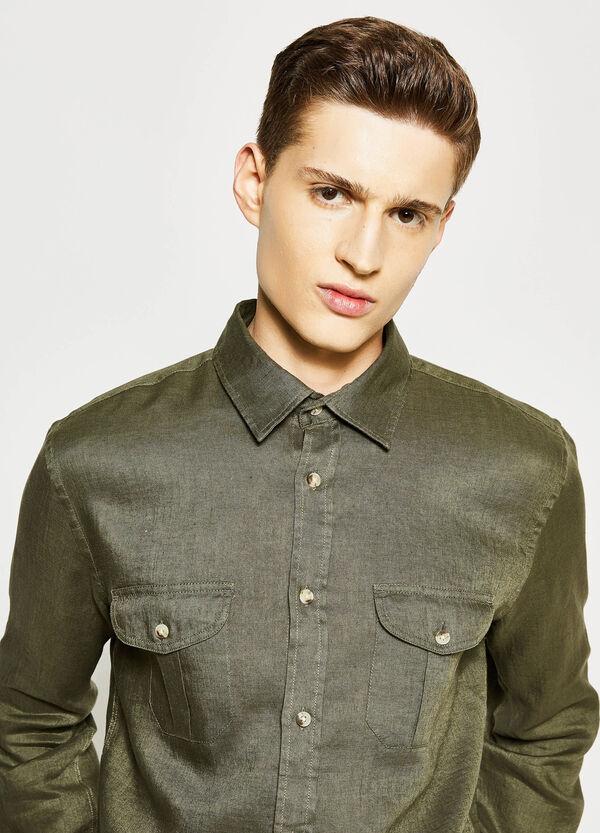 Camicia casual in lino con taschini   OVS