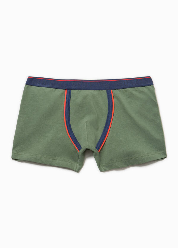 Stretch Biocotton boxer shorts with embroidery | OVS