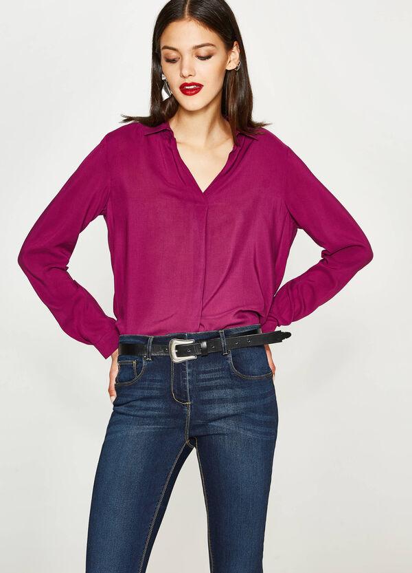 100% viscose V-neck shirt   OVS