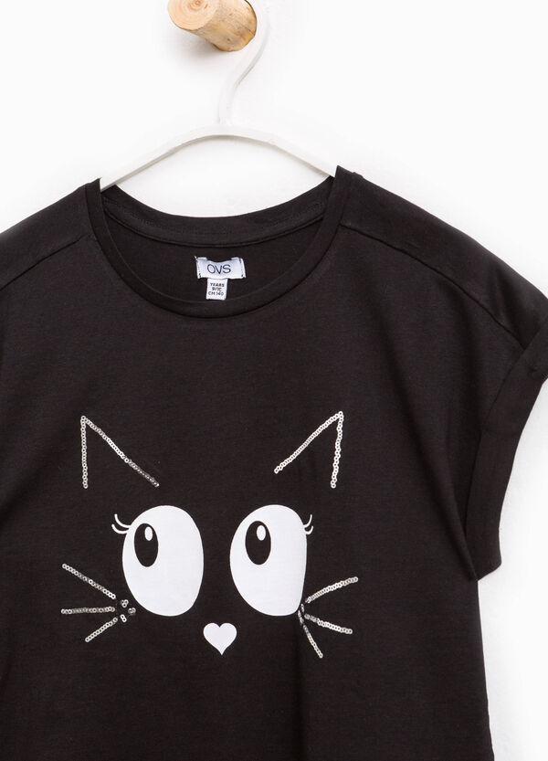 T-shirt puro cotone stampa gatto | OVS