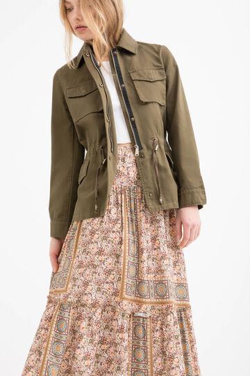 Solid colour safari jacket in 100% cotton
