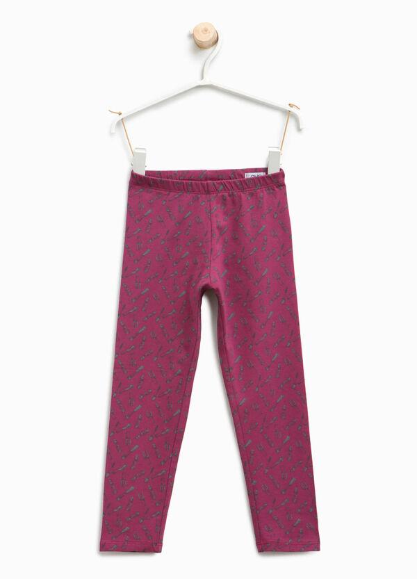 Make-up patterned cotton leggings | OVS